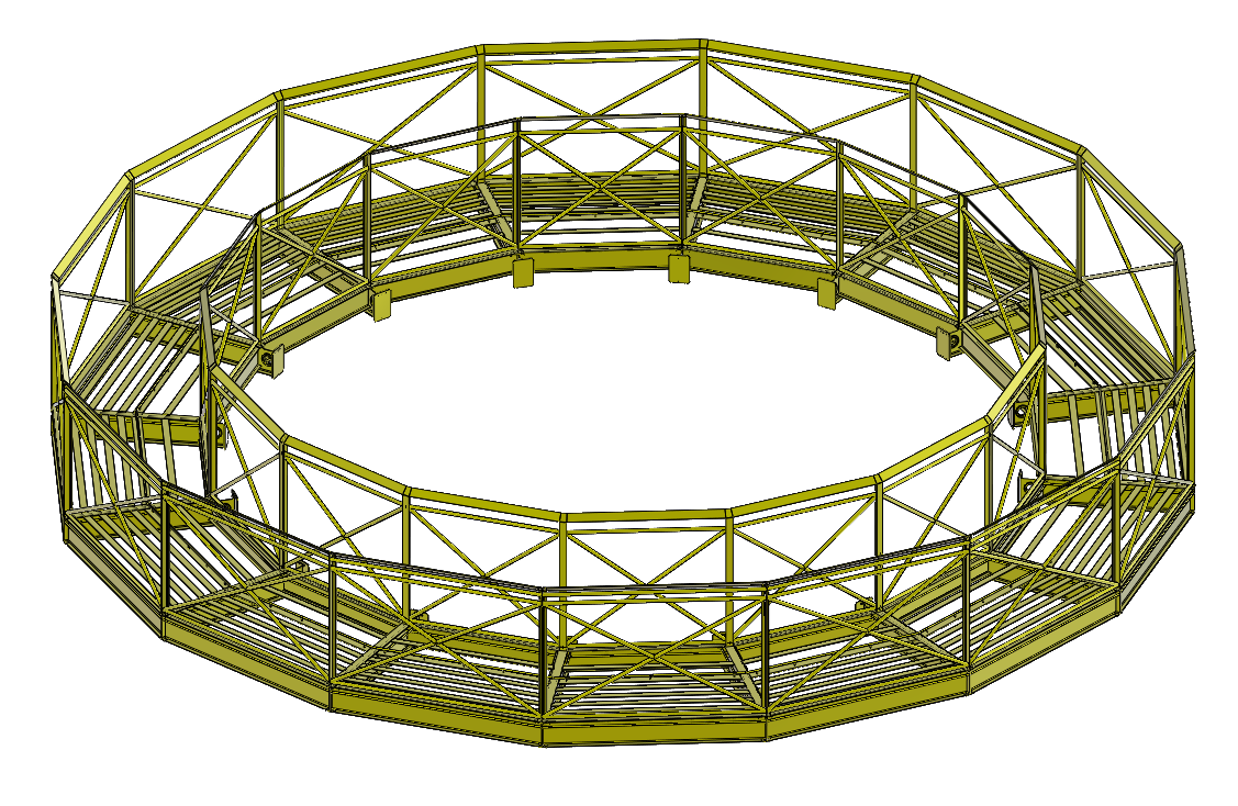 CAD-Drawing of a net basket with standard closed design.