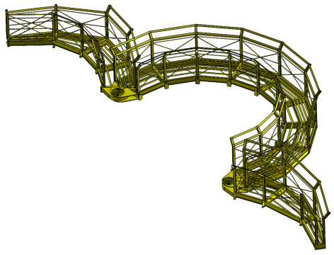CAD-Drawing of an openable net basket.